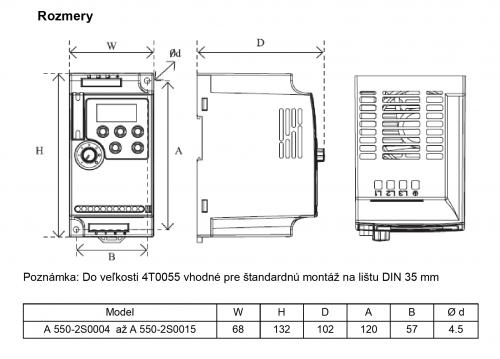 frekvenční měnič 0,75kW A550