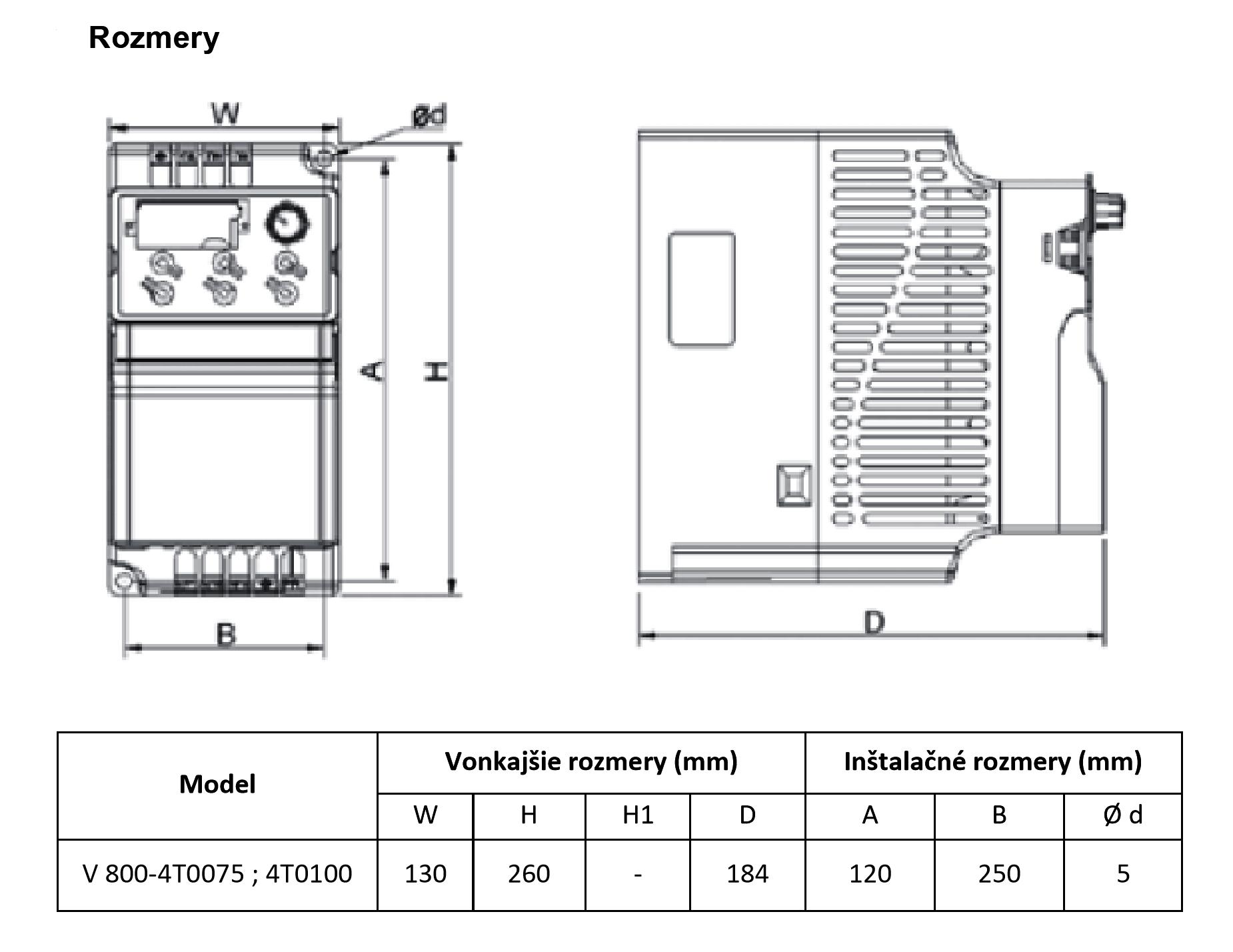frekvenční měnič 7,5 kw V800
