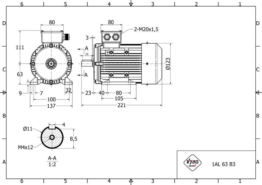 rozmerový výkres elektromotor 0,12 kw 1AL63S-4