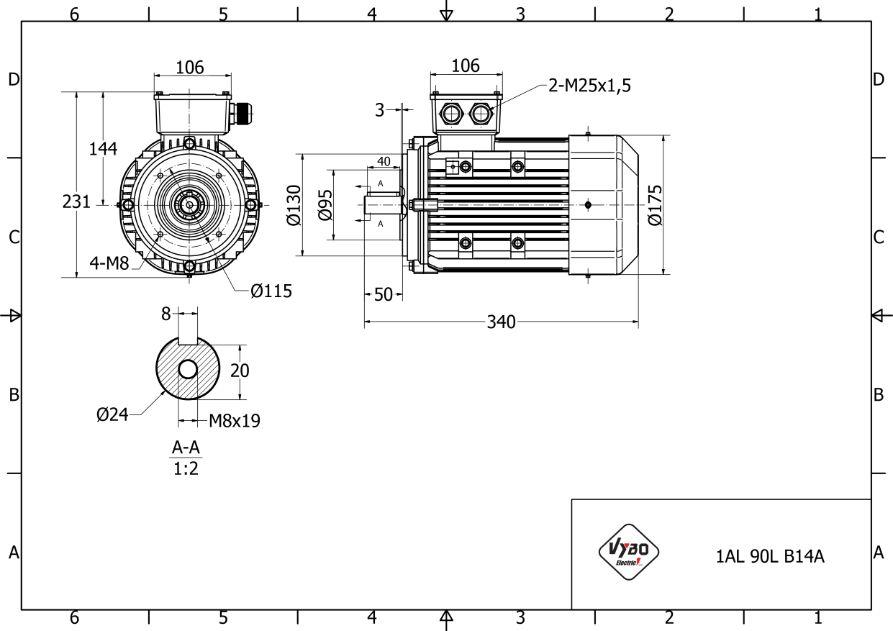 rozměrový výkres elektromotor 1,5 kw 1AL90L-4