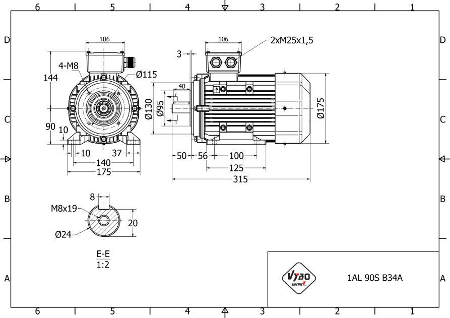 rozměrový výkres elektromotor 1,5 kw 1AL90S2