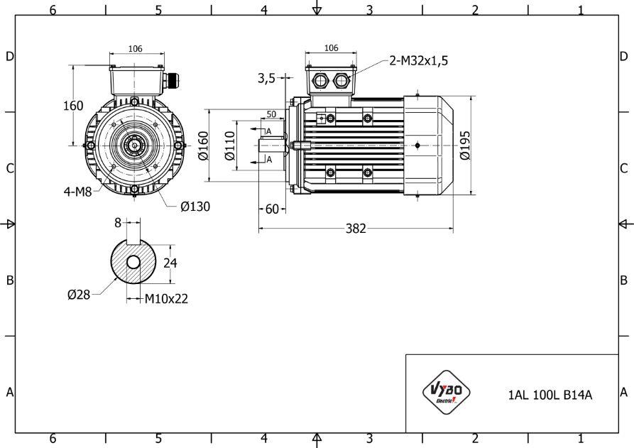 rozměrový výkres elektromotor 2,2 kw 1AL100L-4