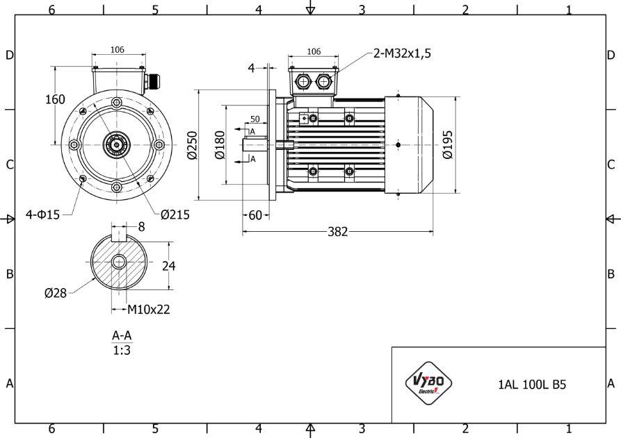 rozměrový výkres elektromotor 3 kw 1AL100L2-4