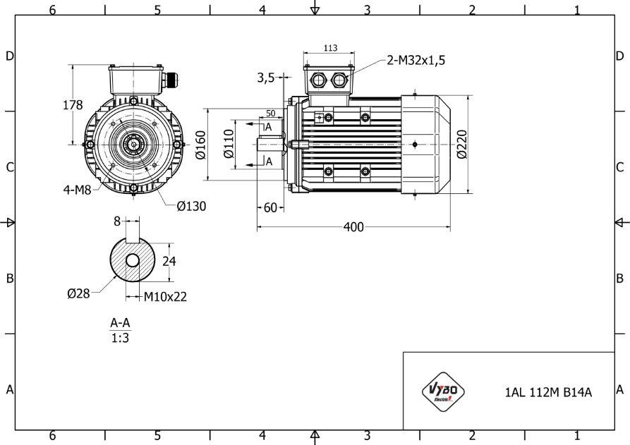 rozměrový výkres elektromotor 4 kw 1AL112M-4
