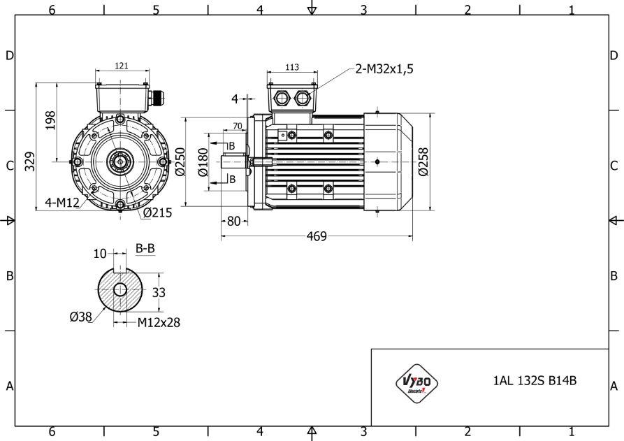 rozměrový výkres elektromotor 5,5 kw 1AL132S-4