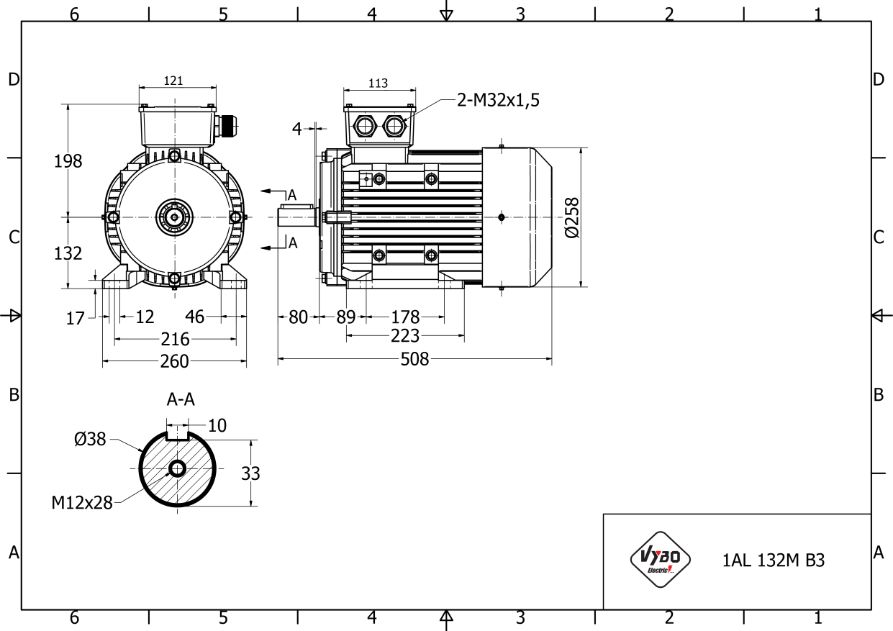 rozměrový výkres elektromotor 7,5 kw 1AL132M-4