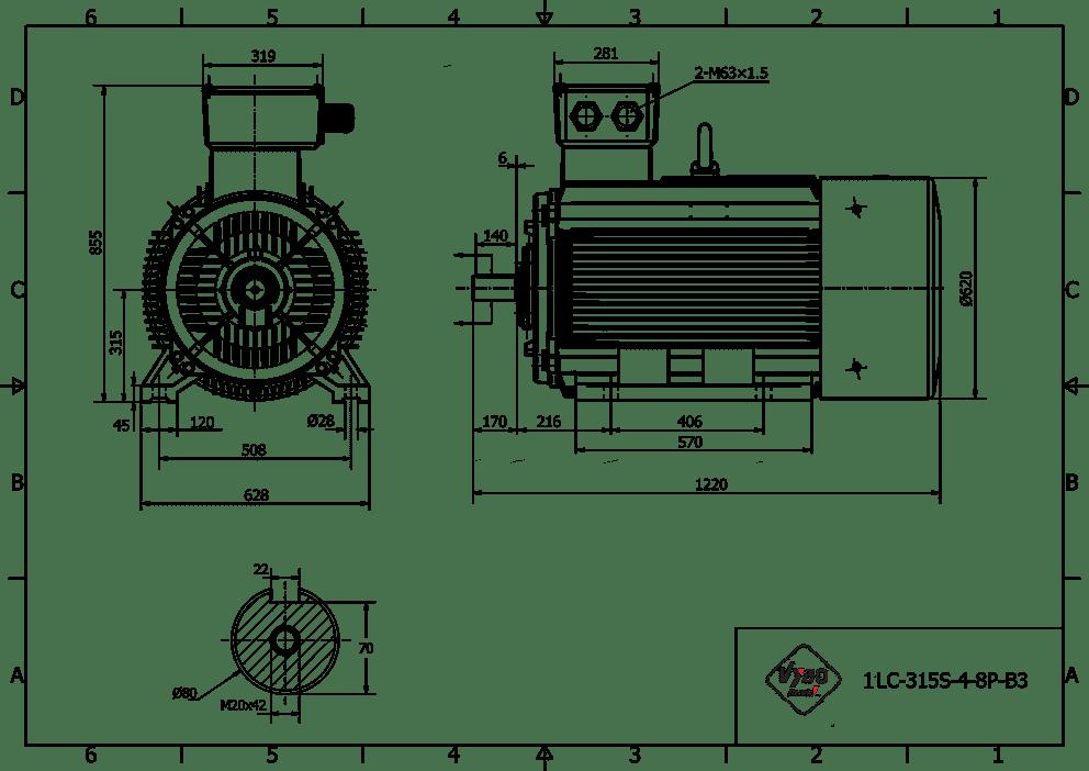 rozměrový výkres elektromotor 110kw 1LC315S02