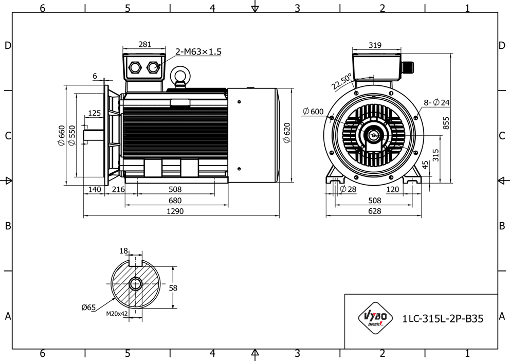 rozměrový výkres elektromotor 132kw 1LC315L06