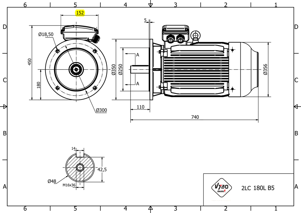 rozměrový výkres elektromotor 15kw 1LC180L-6