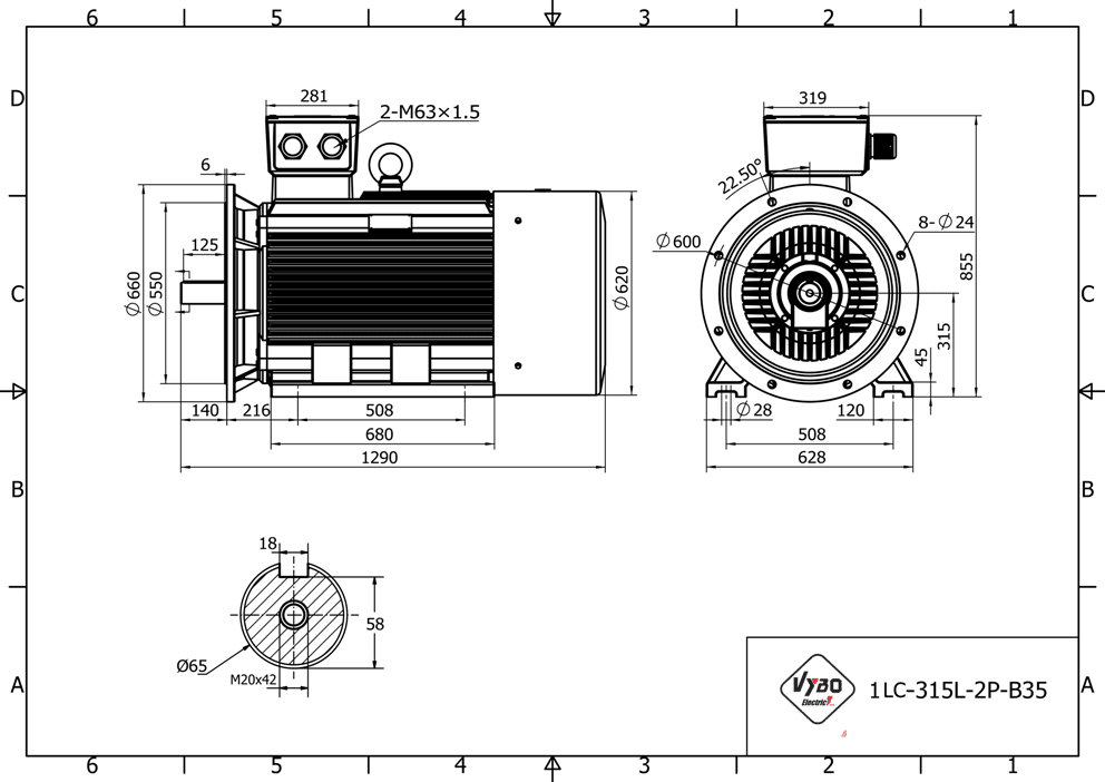 rozměrový výkres elektromotor 160kw 1LC315L02