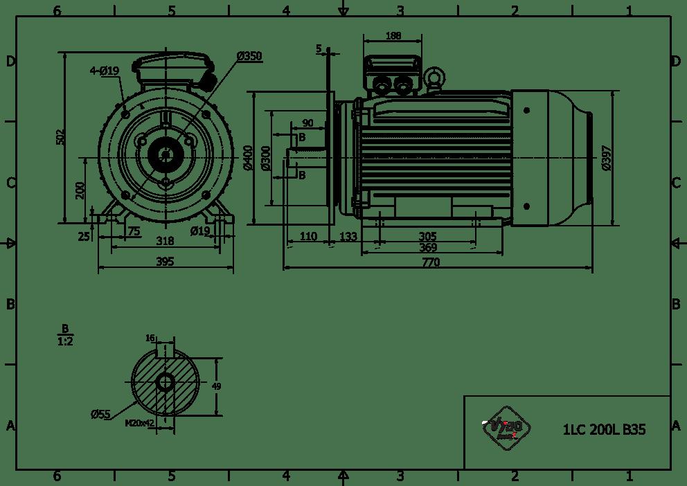 rozměrový výkres elektromotor 18,5kw 1LC200L-6