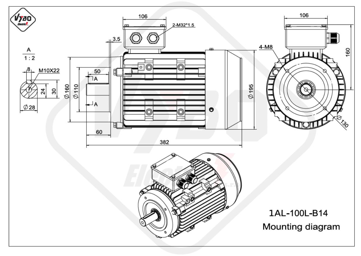rozměrový výkres Elektromotor 3kW 1AL100L-2 B14