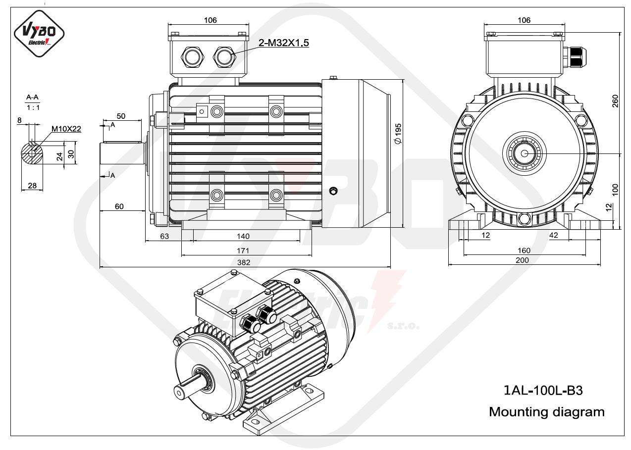 rozměrový výkres Elektromotor 3kW 1AL100L-2 B3