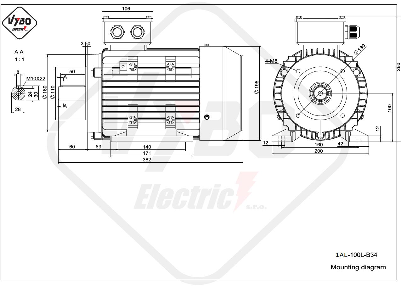 rozměrový výkres Elektromotor 3kW 1AL100L-2 B34