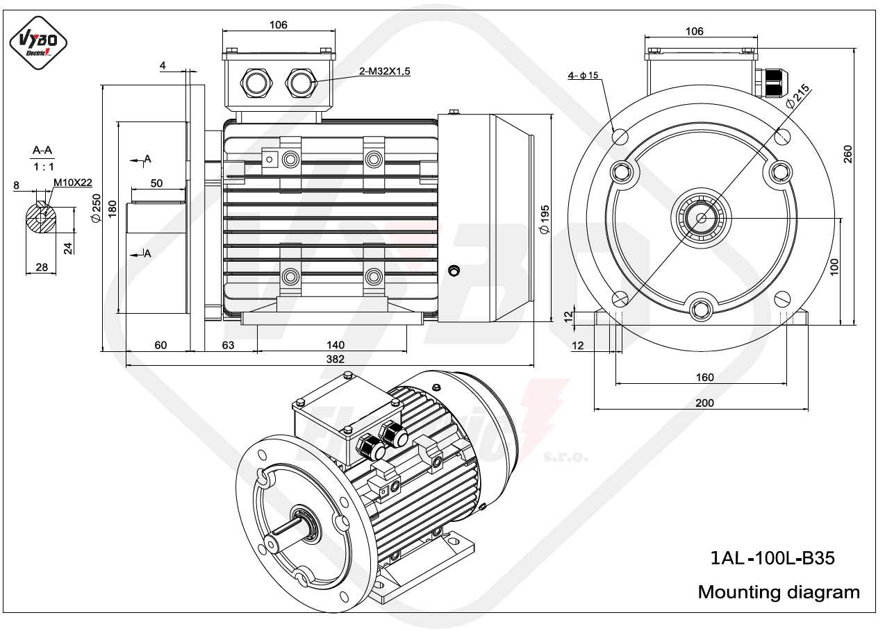 rozměrový výkres Elektromotor 3kW 1AL100L-2 B35