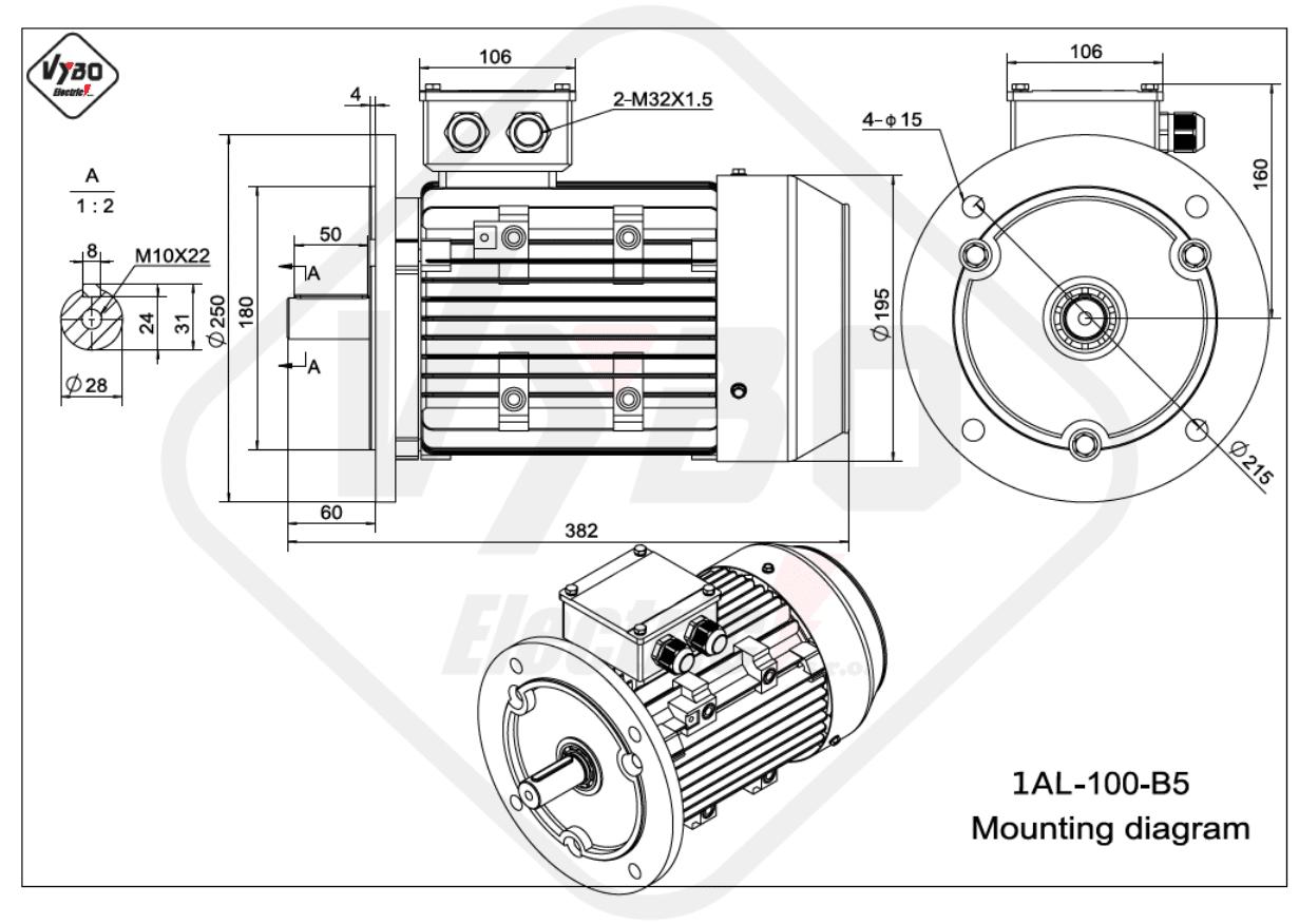 rozměrový výkres Elektromotor 3kW 1AL100L-2 B5