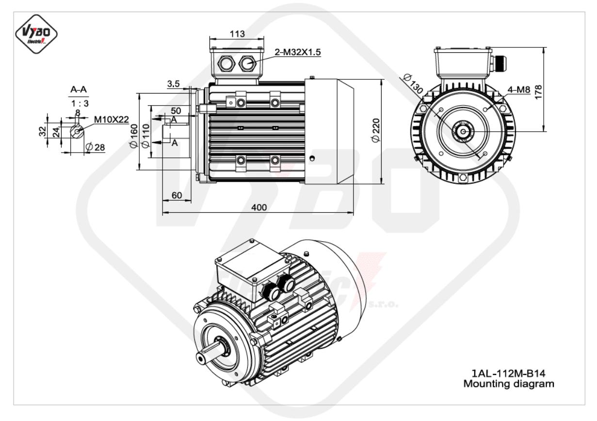 rozměrový výkres elektromotor Elektromotor 4kW 1AL112M-2 B14
