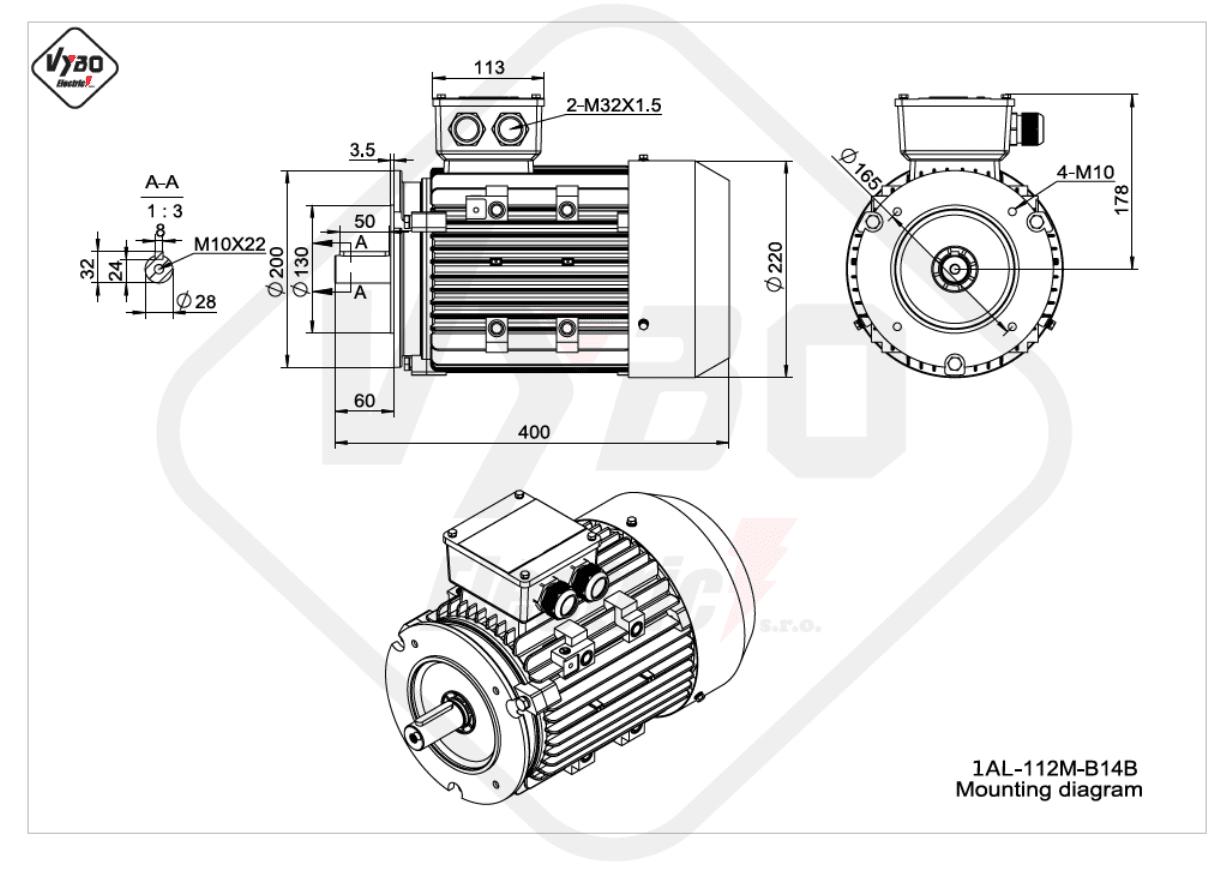 rozměrový výkres elektromotor Elektromotor 4kW 1AL112M-2 B14B