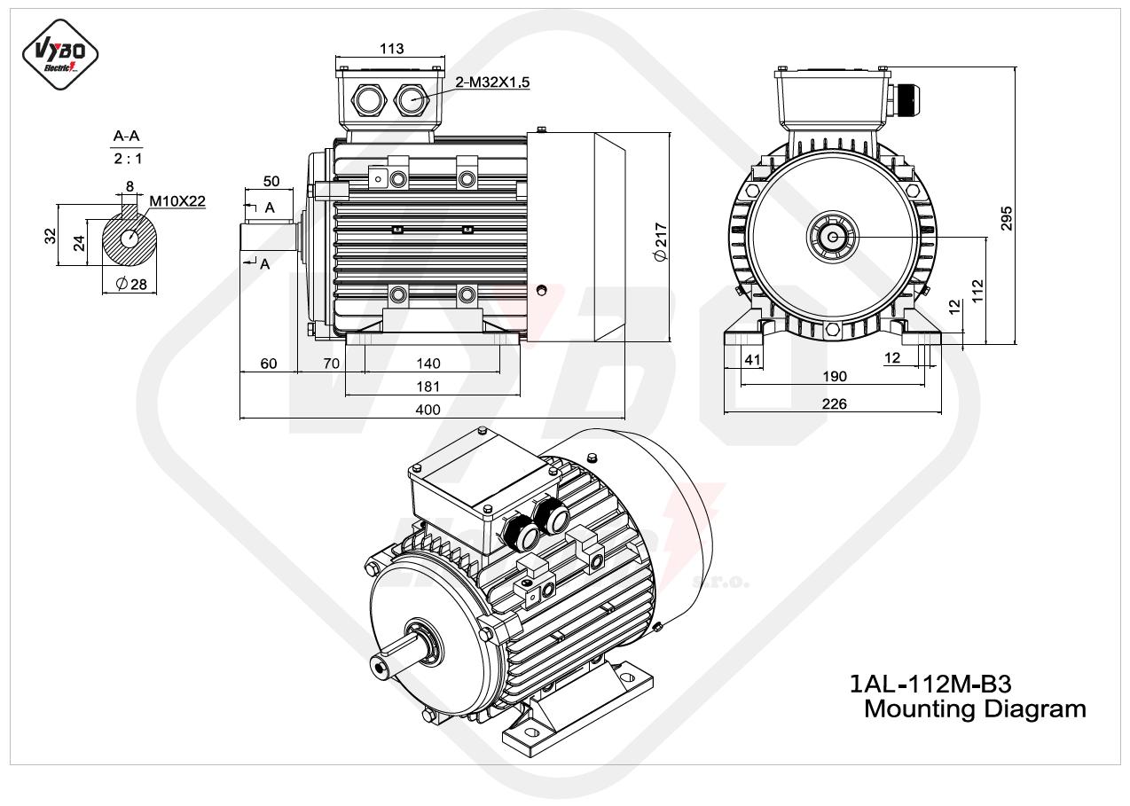 rozměrový výkres elektromotor Elektromotor 4kW 1AL112M-2 B3