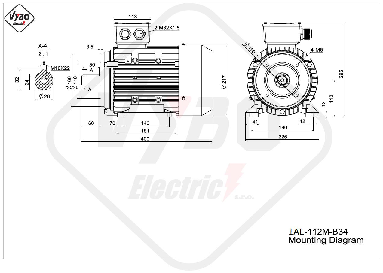 rozměrový výkres elektromotor Elektromotor 4kW 1AL112M-2 B34