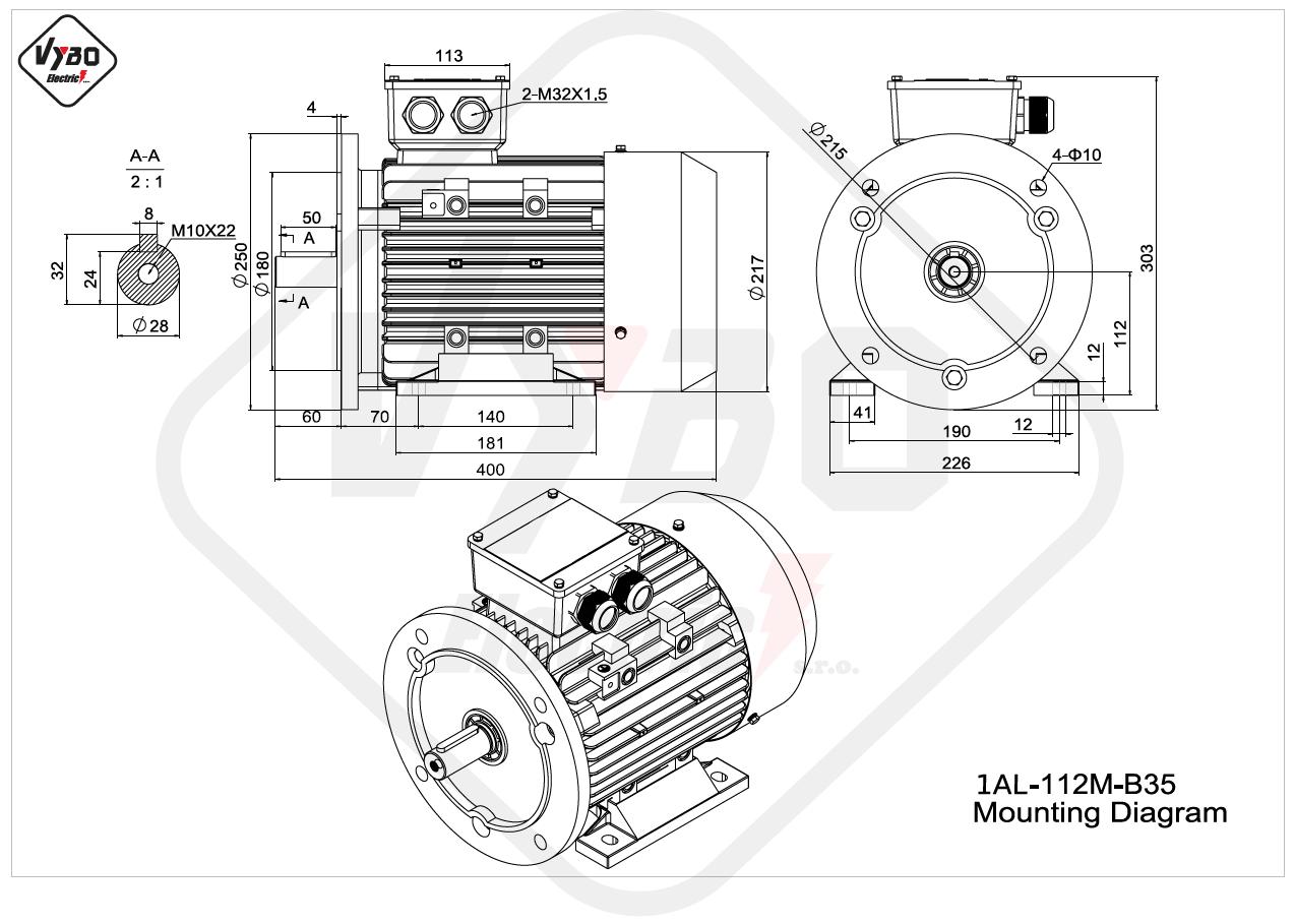 rozměrový výkres elektromotor Elektromotor 4kW 1AL112M-2 B35
