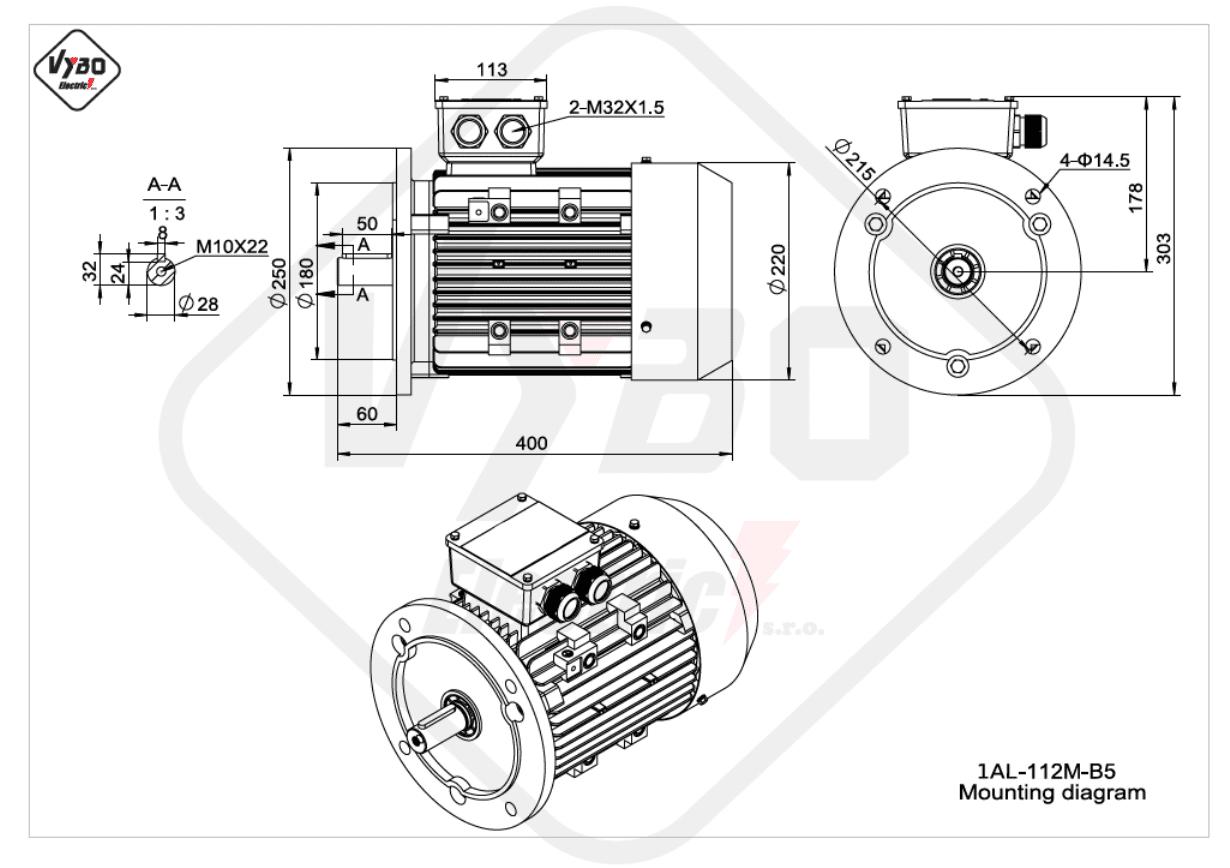 rozměrový výkres elektromotor Elektromotor 4kW 1AL112M-2 B5