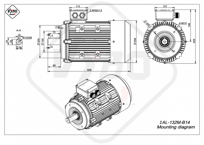 rozměrový výkres Elektromotor 7,5kW 1AL132M-4 B14