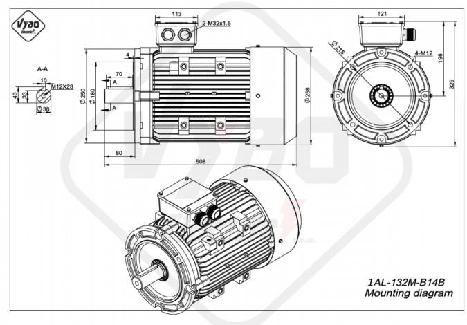 rozměrový výkres Elektromotor 7,5kW 1AL132M-4 B14B