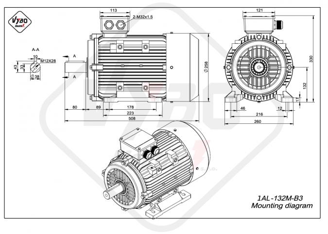 rozměrový výkres Elektromotor 7,5kW 1AL132M-4 B3