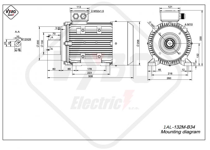 rozměrový výkres Elektromotor 7,5kW 1AL132M-4 B34