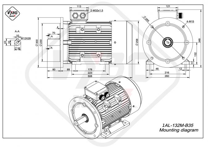 rozměrový výkres Elektromotor 7,5kW 1AL132M-4 B35