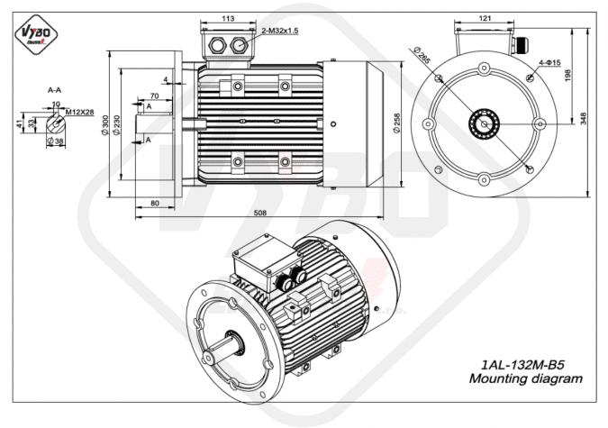 rozměrový výkres Elektromotor 7,5kW 1AL132M-4 B5