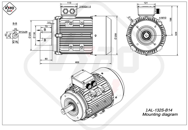 rozměrový výkres Elektromotor 2,2kW 1AL132S-8 B14