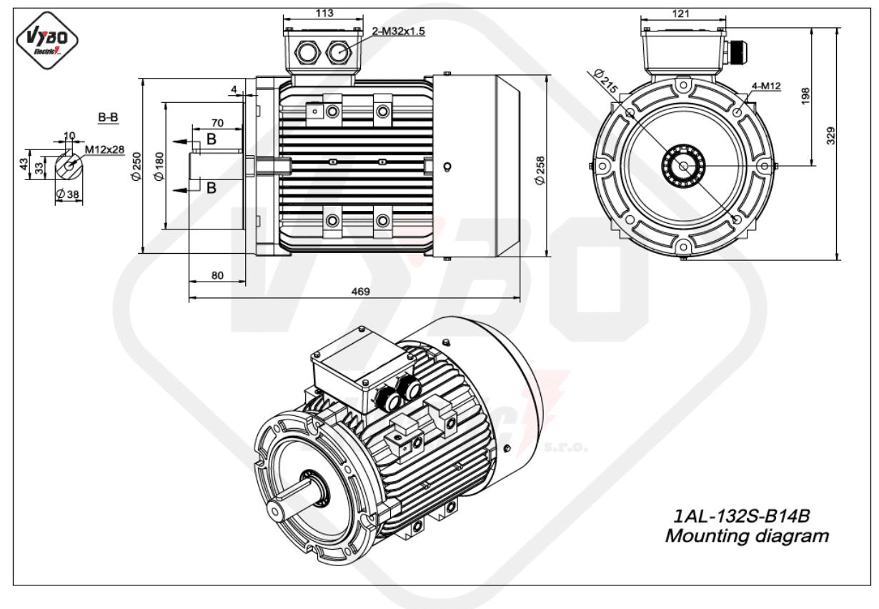 rozměrový výkres Elektromotor 2,2kW 1AL132S-8 B14B