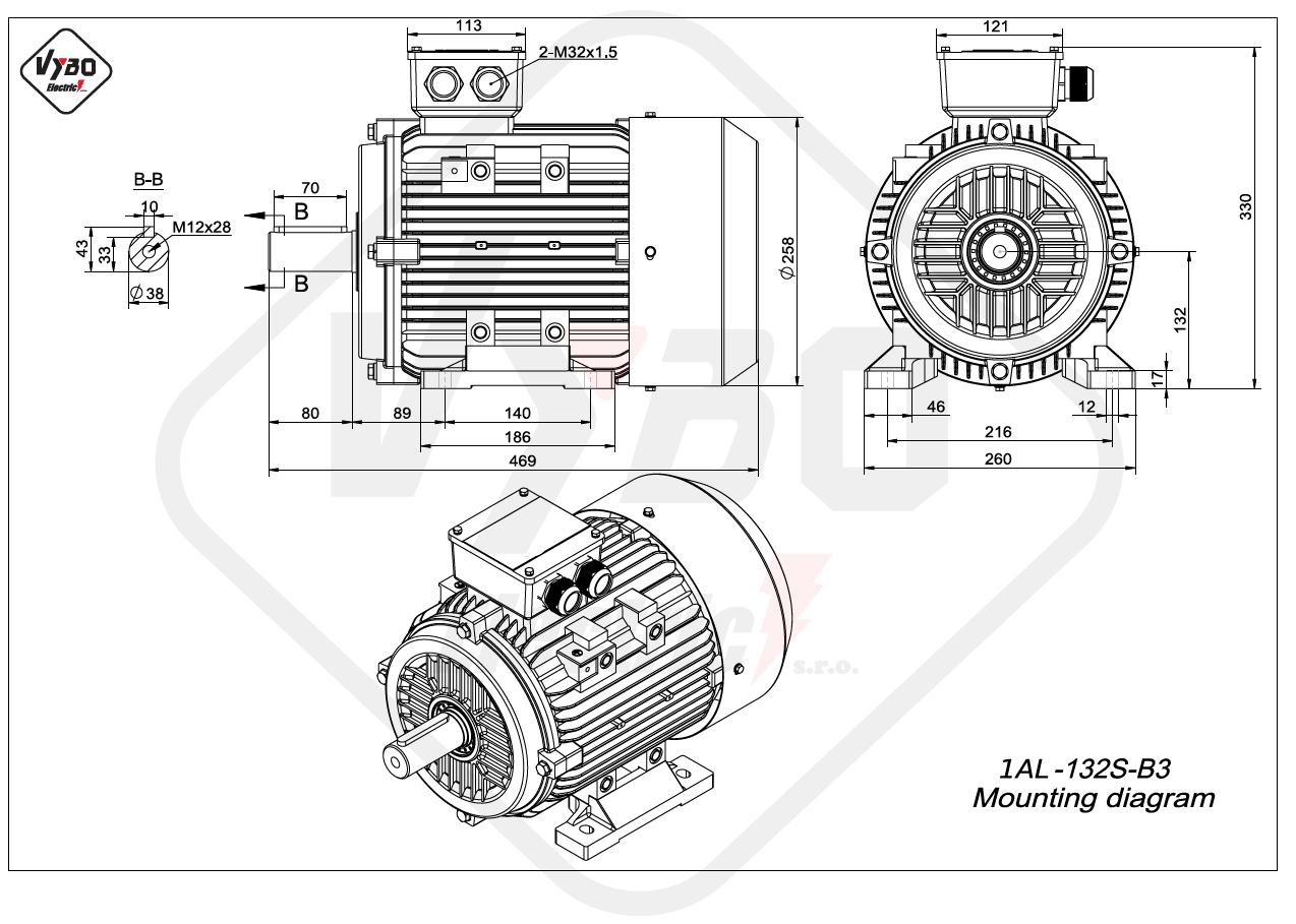 rozměrový výkres Elektromotor 2,2kW 1AL132S-8 B3