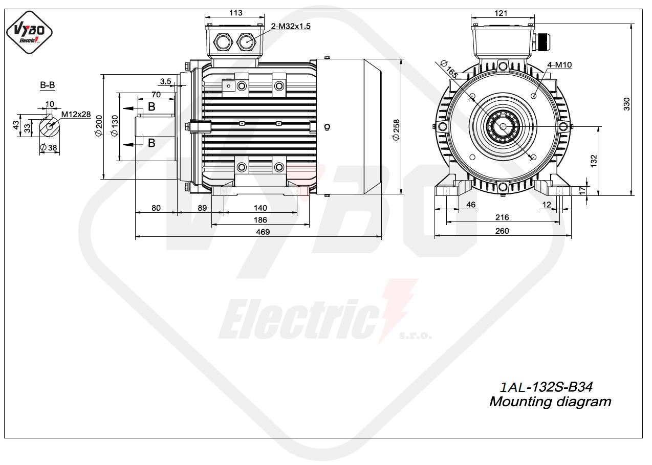 rozměrový výkres Elektromotor 2,2kW 1AL132S-8 B34