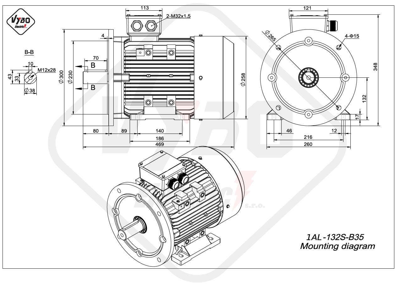 rozměrový výkres Elektromotor 2,2kW 1AL132S-8 B35