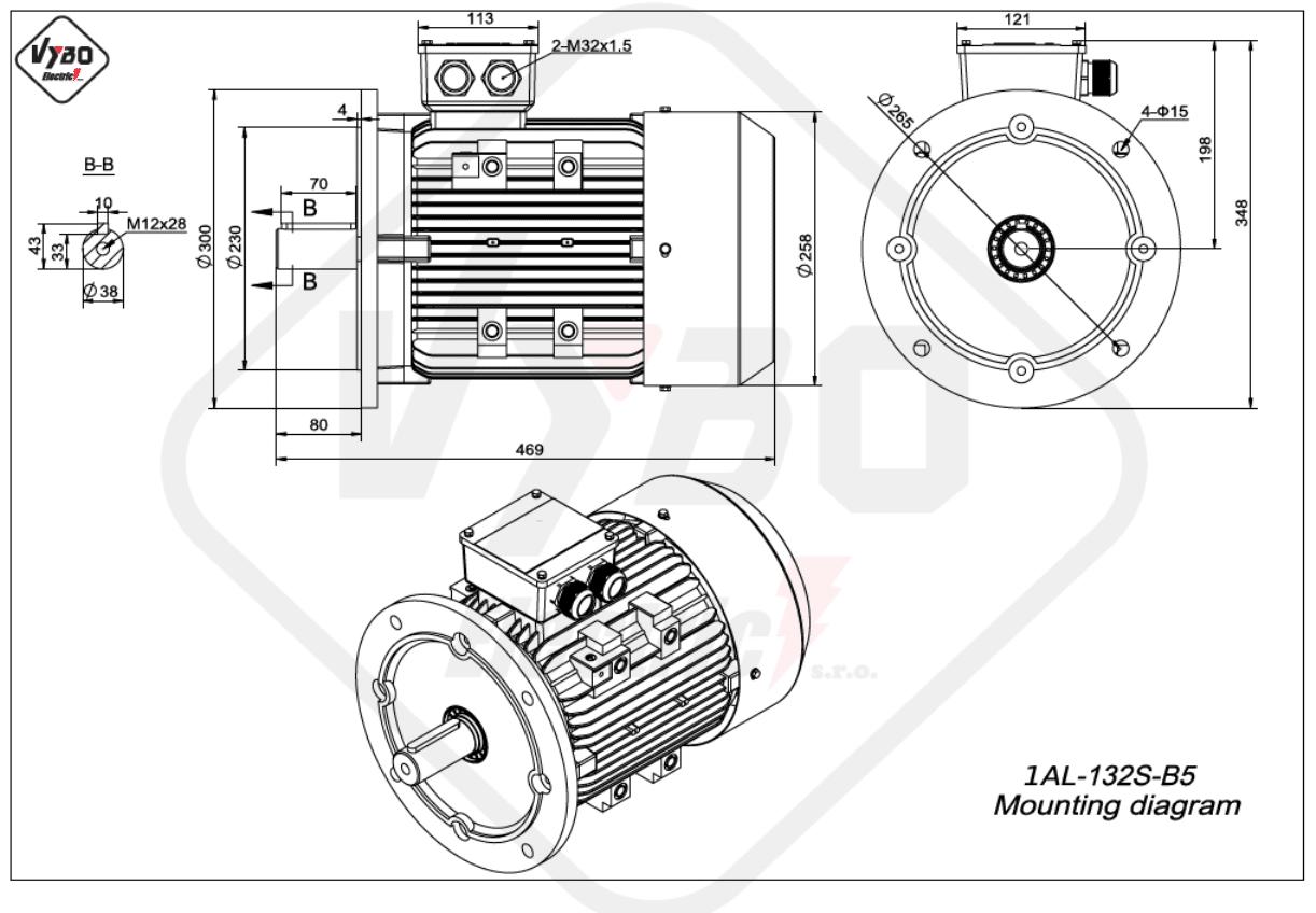 rozměrový výkres Elektromotor 2,2kW 1AL132S-8 B5