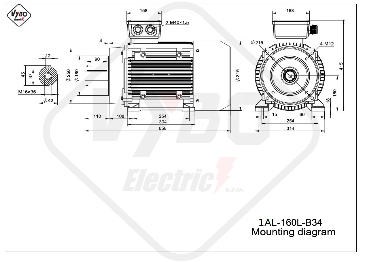 rozměrový výkres Elektromotor 7,5kW 1AL160L-8 B34
