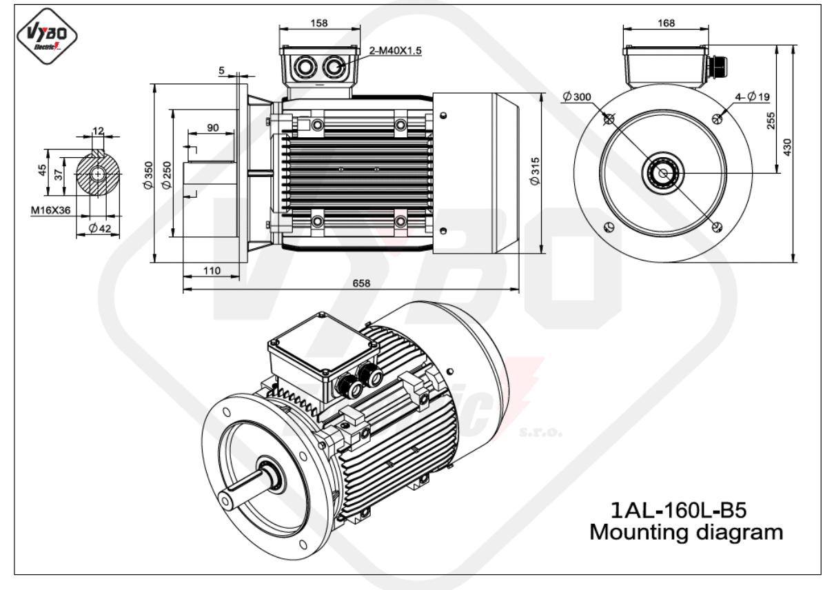 rozměrový výkres Elektromotor 7,5kW 1AL160L-8 B5