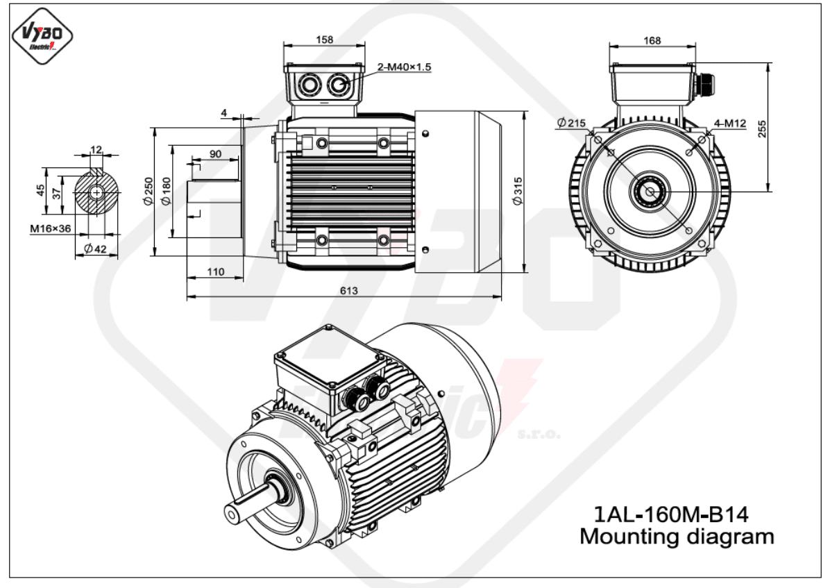 rozměrový výkres Elektromotor 11kW 1AL160M-2 B14