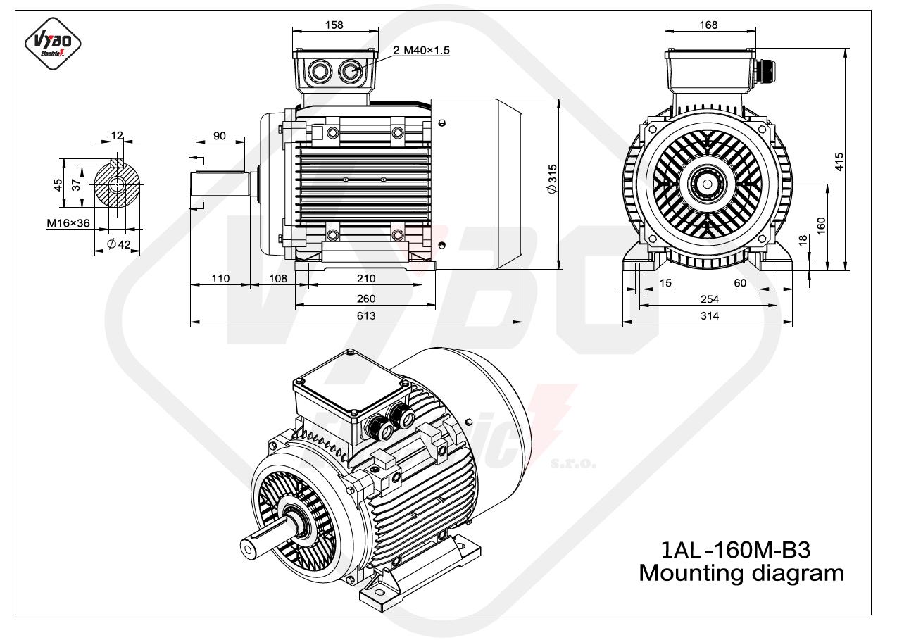 rozměrový výkres Elektromotor 11kW 1AL160M-2 B3