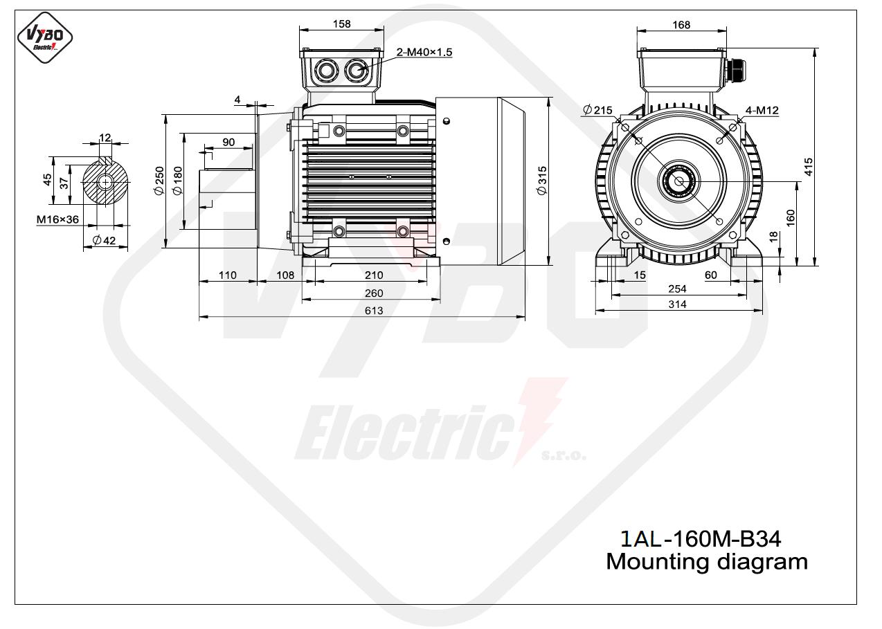 rozměrový výkres Elektromotor 11kW 1AL160M-2 B34
