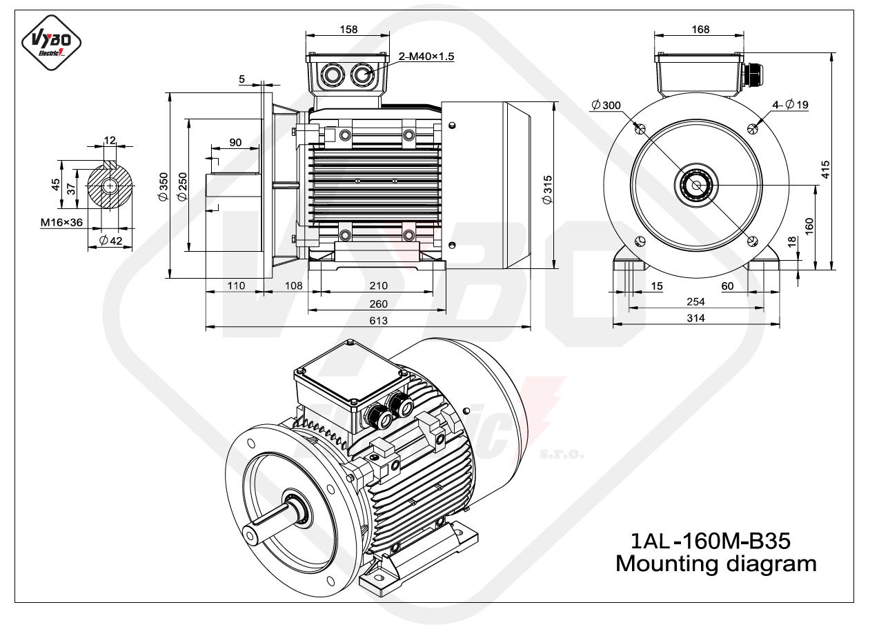 rozměrový výkres Elektromotor 11kW 1AL160M-2 B35