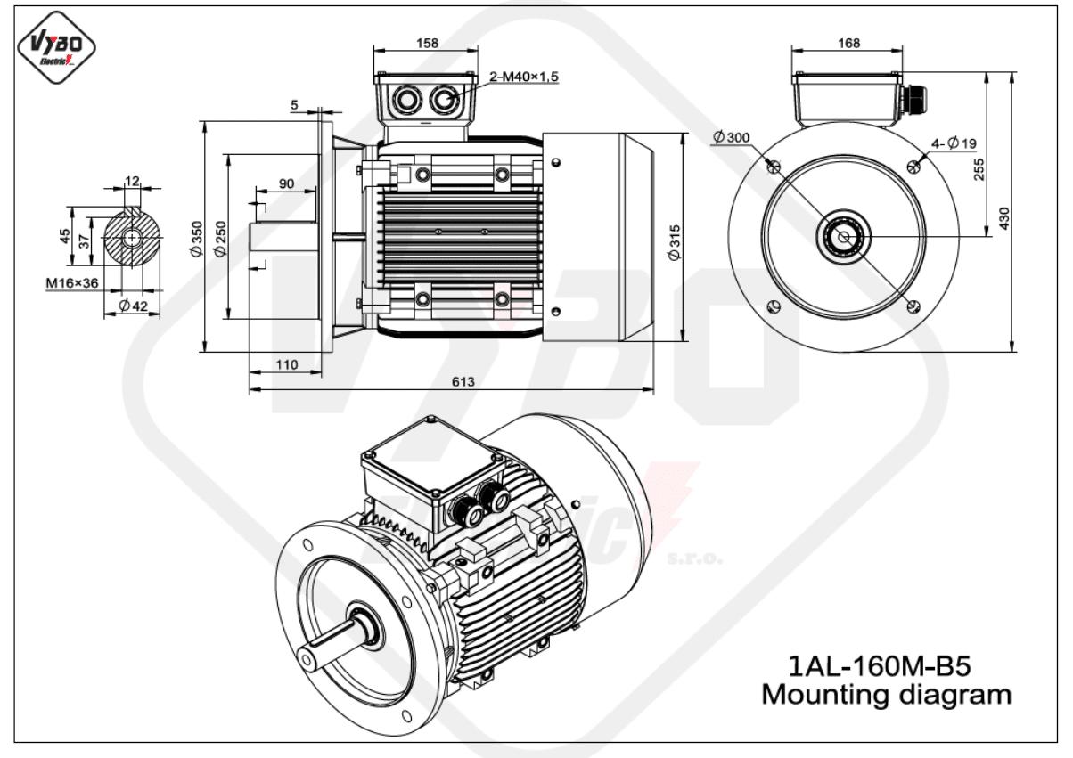 rozměrový výkres Elektromotor 11kW 1AL160M-2 B5