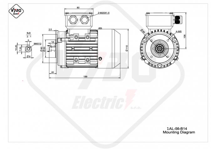 rozměrový výkres Elektromotor 0,09kW 1AL56A-2 B14