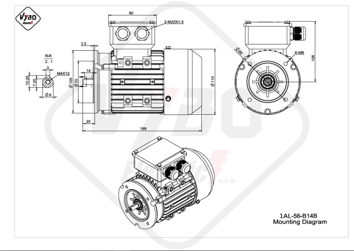rozměrový výkres Elektromotor 0,09kW 1AL56A-2 B14B