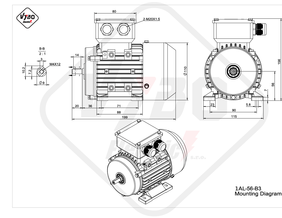 rozměrový výkres Elektromotor 0,09kW 1AL56A-2 B3