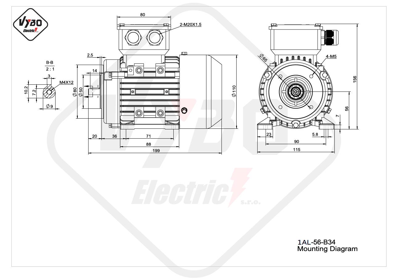 rozměrový výkres Elektromotor 0,09kW 1AL56A-2 B34
