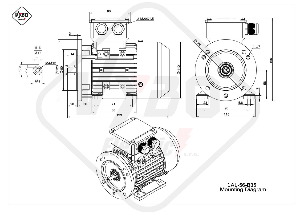 rozměrový výkres Elektromotor 0,09kW 1AL56A-2 B35